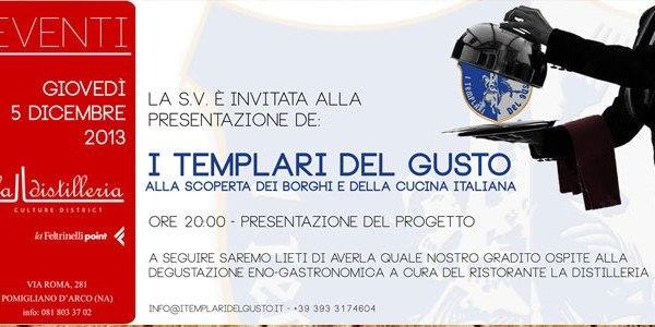 """Invito e Cartellina Inaugurazione de """"I Templari del Gusto"""""""