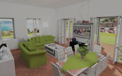 Progettazione Soggiorno/Cucina Villa Capri